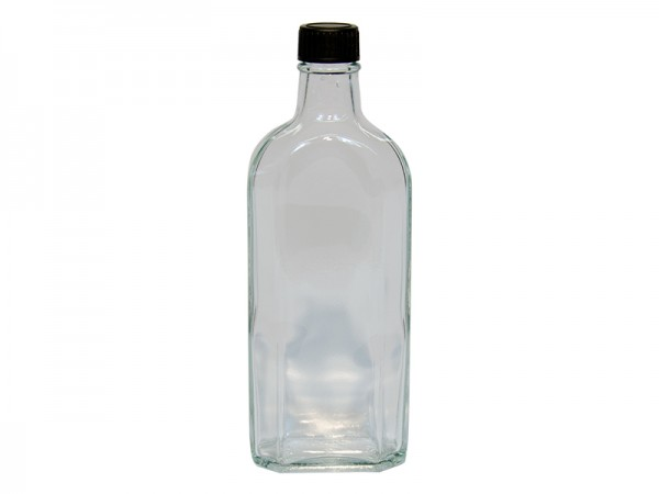 Meplatsflasche 250 ml (klare Glasflasche) mit Deckel