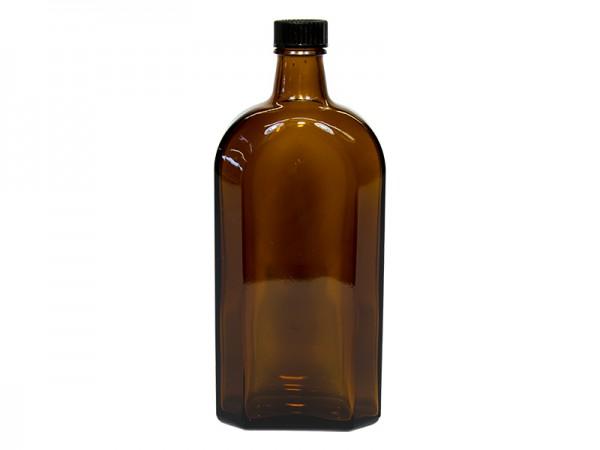 Flasche Glas 0,5 l (braun) mit Deckel